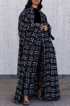 Black Street Print Split Joint Outerwear