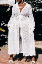 White Fashion Sexy Solid Cardigan Turndown Collar Plus Size Overcoat