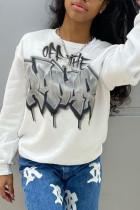 White Fashion Casual Print Basic O Neck Tops