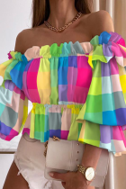 Colour Elegant Print Split Joint Flounce Off the Shoulder Tops