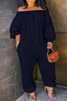 Tibetan Blue Fashion Casual Solid Basic Off the Shoulder Plus Size Jumpsuits (No Pocket)