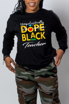 Black Casual Print Split Joint O Neck Tops