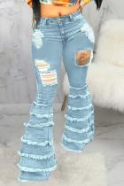 Baby Blue Casual Solid Tassel Mid Waist Boot Cut Denim Jeans