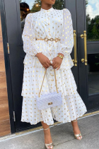 White Sexy Casual Print Make Old Split Joint Flounce Half A Turtleneck Cake Skirt Dresses
