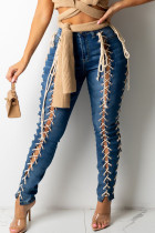The cowboy blue Sexy Solid Hollowed Out Split Joint Frenulum High Waist Skinny Denim Jeans