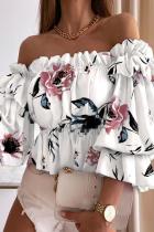 White Elegant Print Split Joint Flounce Off the Shoulder Tops