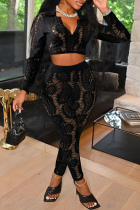 Black Sexy Solid Lace Turndown Collar Long Sleeve Two Pieces
