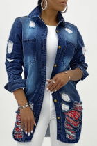 Deep Blue Casual Solid Ripped Turndown Collar Plus Size Overcoat