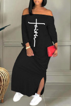 Black Casual Print Split Joint Slit Off the Shoulder Straight Dresses