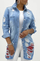 Light Blue Casual Solid Ripped Turndown Collar Plus Size Overcoat