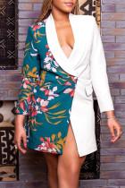 White Fashion Casual Print Split Joint Turndown Collar Outerwear