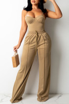 Brown Fashion Sexy Solid Split Joint Backless Spaghetti Strap Sleeveless Two Pieces