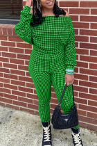 Green Casual Plaid Split Joint Off the Shoulder Long Sleeve Two Pieces