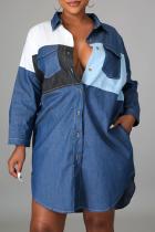 Blue Casual Solid Split Joint Turndown Collar Shirt Dress Dresses