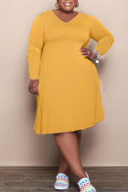 Earth Yellow Fashion Casual Solid Basic V Neck Long Sleeve Plus Size Dresses