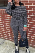 Black Casual Plaid Split Joint Off the Shoulder Long Sleeve Two Pieces