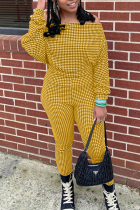 Yellow Casual Plaid Split Joint Off the Shoulder Long Sleeve Two Pieces