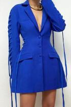 Blue Fashion Casual Solid Split Joint Frenulum Turn-back Collar Outerwear