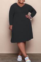 Black Fashion Casual Solid Basic V Neck Long Sleeve Plus Size Dresses