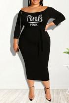 Black Casual Print Split Joint Off the Shoulder One Step Skirt Plus Size Dresses