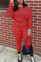 Red Casual Plaid Split Joint Off the Shoulder Long Sleeve Two Pieces
