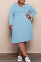 Light Blue Fashion Casual Solid Basic V Neck Long Sleeve Plus Size Dresses