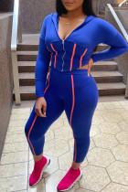 Blue Casual Sportswear Solid Split Joint Zipper Hooded Collar Long Sleeve Two Pieces