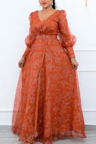 Tangerine Elegant Print Split Joint With Belt Mesh V Neck Long Sleeve Dresses