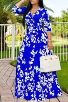 Colorful Blue Fashion Casual Print Basic V Neck Long Dress