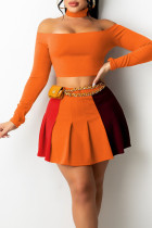 Tangerine Red Casual Solid Split Joint Fold Without Belt Off the Shoulder Long Sleeve Two Pieces