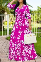 Rose Red Fashion Casual Print Basic V Neck Long Dress