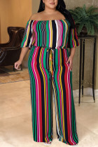 Green Casual Striped Print Split Joint Off the Shoulder Plus Size Jumpsuits