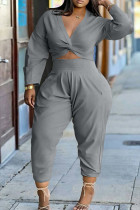 Grey Fashion Casual Solid Basic V Neck Plus Size Two Pieces