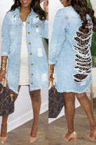 Light Blue Fashion Casual Leopard Ripped Split Joint Turndown Collar Plus Size Overcoat