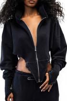 Black Street Solid Split Joint Asymmetrical Zipper Hooded Collar Tops