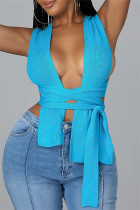 Blue Fashion Sexy Solid Bandage Square Collar Tops
