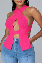 Rose Red Fashion Sexy Solid Bandage Square Collar Tops