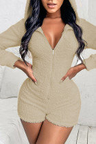 Khaki Casual Solid Split Joint Zipper Hooded Collar Straight Jumpsuits