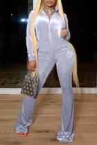 Grey Casual Solid Split Joint Turndown Collar Boot Cut Jumpsuits