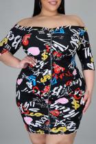 Black Street Print Split Joint Zipper Off the Shoulder Printed Dress Dresses