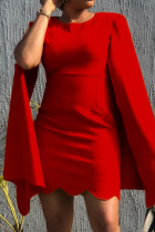 Red Fashion Sexy Solid Split Joint O Neck Pencil Dresses