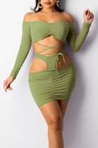 Green Sexy Solid Hollowed Out Split Joint Frenulum Off the Shoulder Long Sleeve Two Pieces