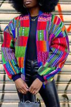 Colour Fashion Street Striped Print Split Joint Zipper Zipper Collar Outerwear