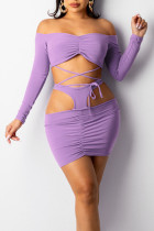 Purple Sexy Solid Hollowed Out Split Joint Frenulum Off the Shoulder Long Sleeve Two Pieces