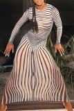 Black White Sexy Striped Print Split Joint See-through O Neck One Step Skirt Dresses