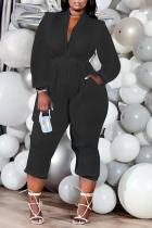 Black Casual Solid Split Joint Zipper Collar Plus Size Jumpsuits