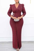 Burgundy Fashion Casual Solid Split Joint Slit V Neck Evening Dress