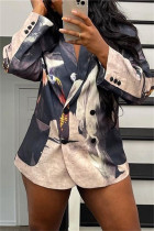 Black Fashion Casual Print Cardigan Turn-back Collar Outerwear