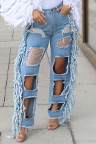 Light Color Street Solid Tassel Ripped Hollowed Out Split Joint High Waist Loose Denim Jeans