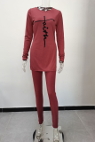 Grey Casual Print Split Joint O Neck Long Sleeve Two Pieces